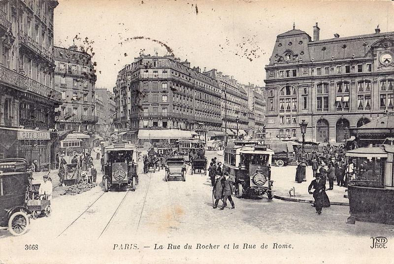 Fichier:ND 3668 - PARIS - La Rue du Rocher et la Rue de Rome.jpg