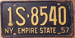 NEW YORK 1957 LICENSE PLATE, STANDARD 12 X 6 INCH SIZE - Flickr - woody1778a.jpg