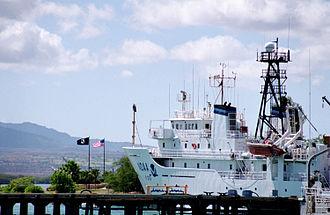USNS Titan (T-AGOS-15) - NOAAS Ka'Imimoana (R 333) moored at Bishop Point wharf at the entrance to Pearl Harbor, Hawaii, on 6 June 2000.