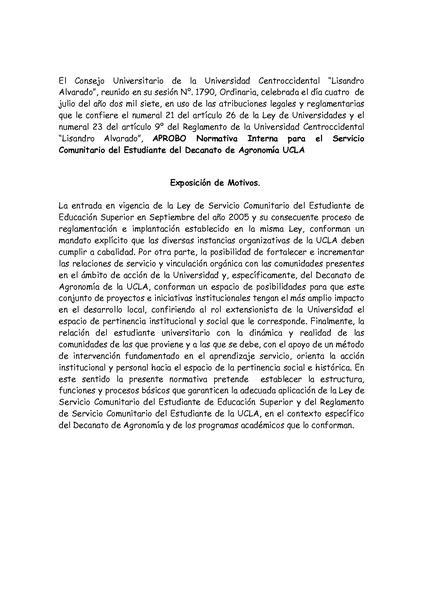 EL SERVICIO COMUNITARIO DEL ESTUDIANTE DEL DECANATO DE AGRONOMÍA UCLA
