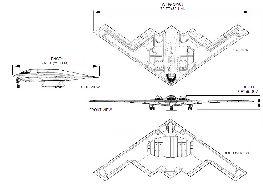 Orthographically projected diagram of the B-2 Spirit