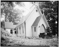 NORTH (FRONT) AND EAST ELEVATIONS - St. John the Evangelist Episcopal Church, Dingmans Ferry, Pike County, PA HABS PA,52-DING,4-3.tif