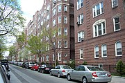 A typical residential street in Jackson Heights.
