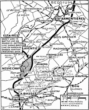 Battle of Neuve Chapelle - Positions following the battle, New York Times, May 1915