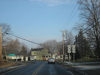 New York State Route 168 - NY 168 westbound approaching the junction with NY 28 in Mohawk