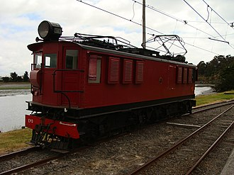Railway electrification in New Zealand - An Eo class locomotive as used at Otira at the Ferrymead Heritage Park