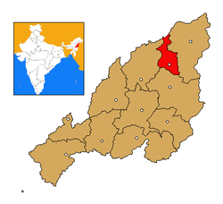 Longleng district's location in Nagaland