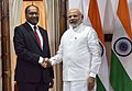 Narendra Modi meeting the Prime Minister of the Republic of Vanuatu, Mr. Charlot Salwai for the bilateral talks, on the sidelines of the International Solar Alliance (ISA) Summit, at Hyderabad House, in New Delhi (1).jpg