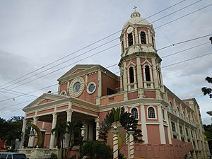 Nasugbu, Batangas - The romanesque façade of the new Parish Church in J. P. Laurel Street.