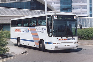 National Express Coaches - Plaxton Premiere bodied Volvo B10M at Manchester Airport in April 2003