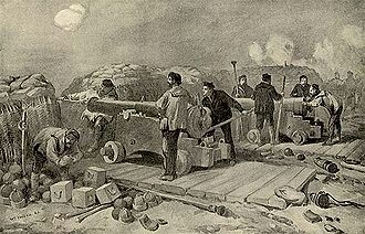 Naval brigade - Naval brigade guns and gunners at the Siege of Sevastopol (1854–1855), during the Crimean War.
