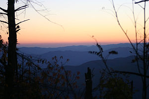 Mountains-to-Sea Trail - Sunset view from Clingman's Dome, the western terminus of the trail