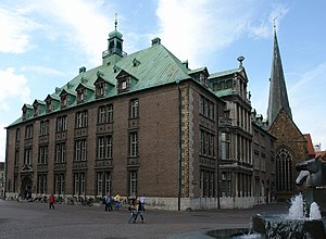 New Town Hall (Bremen) - Faҫade facing the cathedral