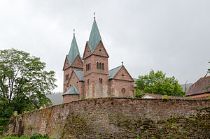 Neustadt am Main Abbey - Exterior of the church with outer abbey wall