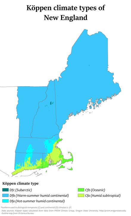Koppen climate types in New England New England Koppen.png