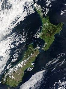 Immagine satellitare della Nuova Zelanda