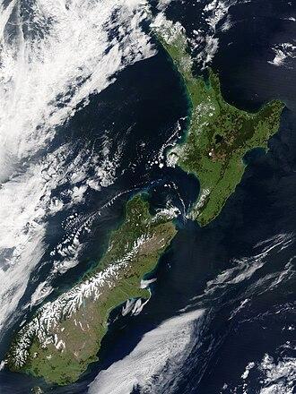 Outline of New Zealand - Satellite image of New Zealand