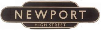"""Western Region of British Railways - British Railways Western Region """"totem"""" station sign for Newport High Street"""