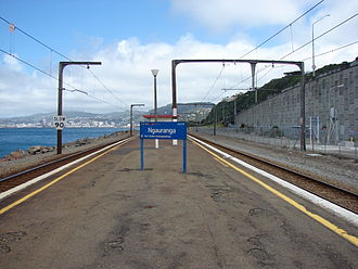 Ngauranga railway station - Ngauranga station, looking south. To the left is the Down line, to the right the Up line. Behind the fence are the waste disposal facility and the abutment for the southbound bridge of the Ngauranga Flyover.
