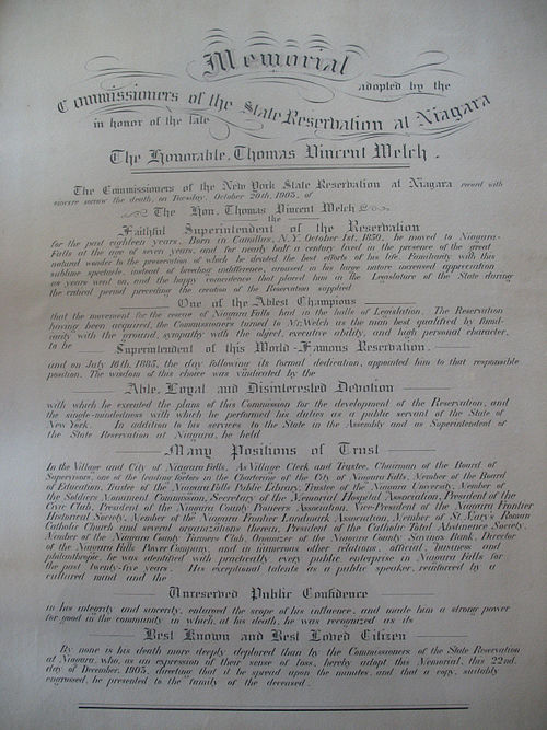 Memorial parchment given to the Welch family Niagara commissioners memorial parchment.jpg