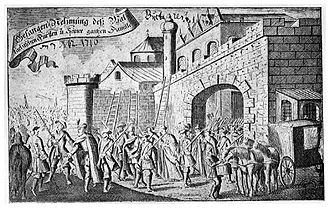 Nicholas Mavrocordatos - Mavrocordatos being captured by Habsburg troops (1716), as imagined in an Imperial gazette of the time.