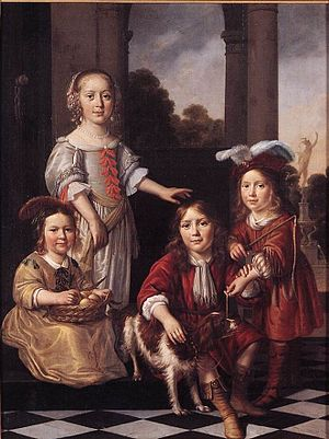 1657 in art - Image: Nicolaes Maes Portrait of Four Children WGA13813