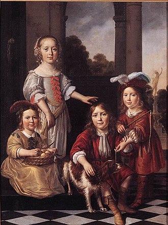 1657 in art - Image: Nicolaes Maes Portrait of Four Children WGA13813
