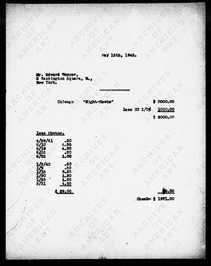 Nighthawks - Invoice showing $1971 going to the artist after commission and costs