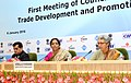 Nirmala Sitharaman interacting with the media regarding the 1st Meeting of Council for Trade Development and Promotion, in New Delhi. The Commerce Secretary, Ms. Rita A. Teaotia and the Secretary.jpg