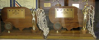 National Junior College Athletic Association - Men's and women's Division III basketball championship trophies from 2003 at Suffolk County Community College