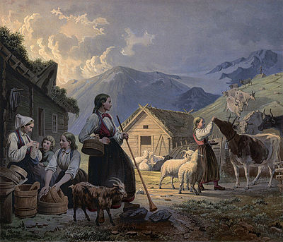 An idealized depiction of girl cow herders in 19th-century Norway by Knud Bergslien Norske Folkelivsbilleder 08 - En Aften ved Saeteren (Knud Bergslien).jpg