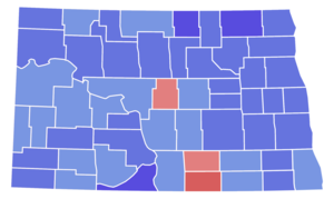 United States Senate election in North Dakota, 1970 - Image: North Dakota Senate Election Results by County, 1970