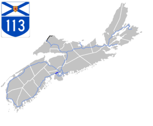 Nova Scotia Highway 113 - Image: Nova Scotia 113 Map