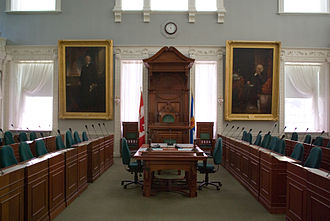 Joseph Howe - House of Assembly, Province House, Joseph Howe (left) and James William Johnston (right), both paintings by Henry Sandham