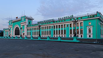 Novosibirsk railway station - View of the station from the street.