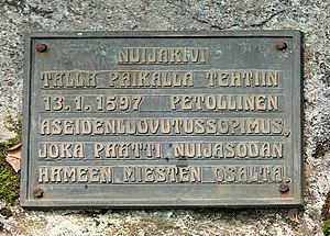 1596 in Sweden - A memorial plaque dedicated to the fallen peasants