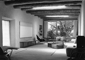 Georgia O'Keeffe Home and Studio - Georgia O'Keeffe Home, sitting room, looking into garden. 1996 photo.