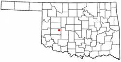 Location of Corn, Oklahoma