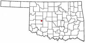 Corn, Oklahoma - Image: OK Map doton Corn