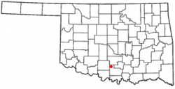 Location of Ratliff City, Oklahoma