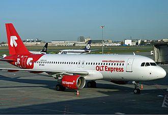 OLT Express - OLT Express Airbus A320 at Warsaw Chopin Airport