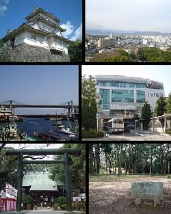 Top left: Odawara Castle, Top right;Panorama view of around Odawara, from Odawara Castle Park, Middle left: Odawara Fishing Port, Middle right: Odawara Station, Bottom left: Sontoku Ninomiya Shrine, Bottom right: Ishigakiyama Castle Park