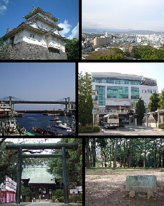 Odawara - Top left: Odawara Castle, Top right: Panorama view of Odawara, from Odawara Castle Park, Middle left: Odawara Fishing Port, Middle right: Odawara Station, Bottom left: Sontoku Ninomiya Shrine, Bottom right: Ishigakiyama Castle Park