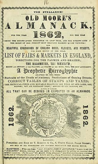 Old Moore's Almanack - An 1862 issue of Old Moore's Almanac.
