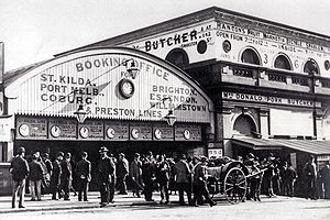 Railways in Melbourne - The pre 1910 Flinders Street railway station building on Swanston Street