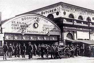 Flinders Street railway station - The Swanston Street Extension frontage of the pre-1910 station