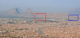 Kandahar Greek Edict of Ashoka - Ancient city of Old Kandahar (red) and Chil Zena mountainous outcrop (blue) on the western side of Kandahar
