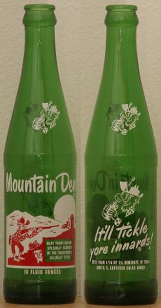 "Mountain Dew - Two sides of an early Mountain Dew bottle using the ""Hillbilly"" design."