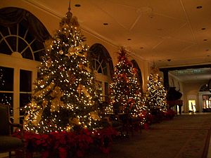 Omni Royal Orleans - Lobby of Omni Royal Orleans, at the corner of Royal and St. Louis streets; Christmas trees