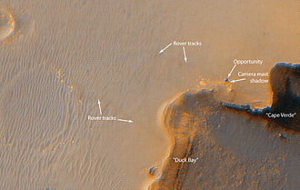 Victoria (crater) - The Mars Exploration Rover Opportunity at the rim of Victoria as photographed from the Mars Reconnaissance Orbiter